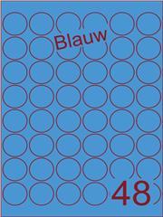 Etiket blauw rond ø32mm (48) ds100vel A4