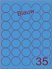 Etiket blauw rond ø35mm (35) ds200vel A4