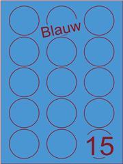 Etiket blauw rond ø50mm (15) ds200vel A4