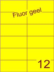 Etiket fluor geel 105x49,5mm (12) ds200vel A4
