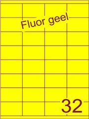 Etiket fluor geel 52,5x35mm (32) ds100vel A4