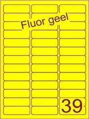 Etiket fluor geel 63,5x21,2mm (39) ds100vel A4
