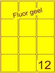 Etiket fluor geel 63,5x72mm (12) ds200vel A4