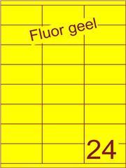 Etiket fluor geel 70x35mm (24) ds100vel A4 (SC66000246)