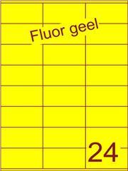 Etiket fluor geel 70x36mm (24) ds100vel A4