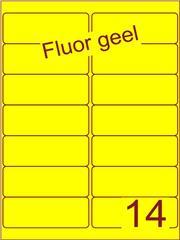 Etiket fluor geel 99,1x38,1mm (14) doos100vel A4
