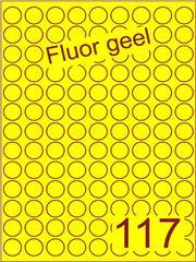 Etiket fluor geel rond ø19mm (117) ds200vel A4