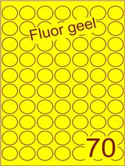 Etiket fluor geel rond ø25mm (70) ds200vel A4