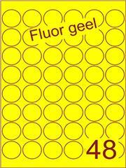 Etiket fluor geel rond ø32mm (48) ds100vel A4