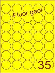 Etiket fluor geel rond ø35mm (35) ds200vel A4