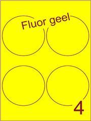 Etiket fluor geel rond ø99mm (4) ds200vel A4