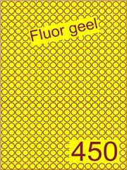 Etiket fluor geel rond ø9mm (450) ds200vel A4