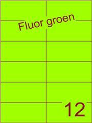Etiket fluor groen 105x49,5mm (12) ds200vel A4