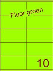 Etiket fluor groen 105x56,8mm (10) ds100vel A4
