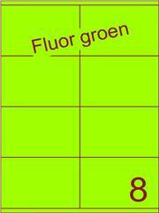 Etiket fluor groen 105x71mm (8) ds120vel A4