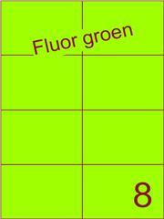 Etiket fluor groen 105x74,25mm (8) ds100vel A4