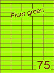 Etiket fluor groen 40x18mm (75) ds200vel A4