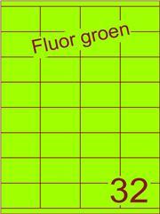 Etiket fluor groen 52,5x35mm (32) ds100vel A4