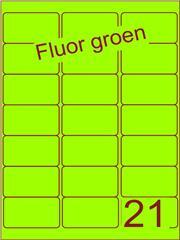 Etiket fluor groen 63,5x38,1mm (21) ds100vel A4