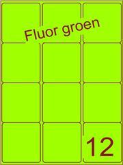 Etiket fluor groen 63,5x72mm (12) ds200vel A4