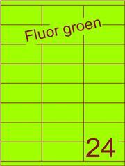 Etiket fluor groen 70x35mm (24) ds200vel A4 (SC66000297)