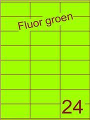 Etiket fluor groen 70x36mm (24) ds100vel A4