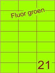 Etiket fluor groen 70x42,4mm (21) ds100vel A4