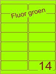 Etiket fluor groen 99,1x38,1mm (14) doos100vel A4