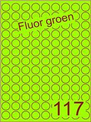 Etiket fluor groen rond ø19mm (117) ds200vel A4