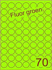 Etiket fluor groen rond ø25mm (70) ds200vel A4