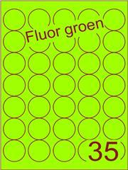 Etiket fluor groen rond ø35mm (35) ds200vel A4