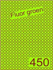 Etiket fluor groen rond ø9mm (450) ds200vel A4