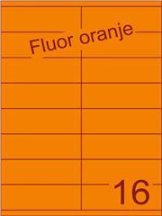 Etiket fluor oranje 105x35mm (16) ds100vel A4