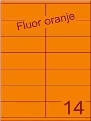 Etiket fluor oranje 105x40mm (14) ds200vel A4