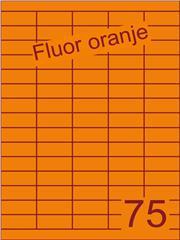 Etiket fluor oranje 40x18mm (75) ds200vel A4