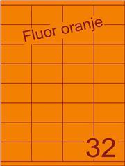 Etiket fluor oranje 52,5x35mm (32) ds100vel A4