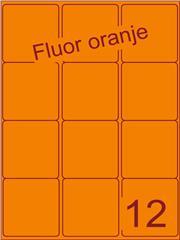 Etiket fluor oranje 63,5x72mm (12) ds200vel A4