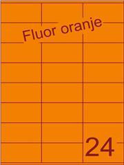 Etiket fluor oranje 70x36mm (24) ds100vel A4