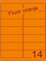 Etiket fluor oranje 99,1x38,1mm (14) doos100vel A4