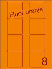 Etiket fluor oranje Disklabels 70x72 (8) ds200vel A4