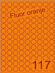 Etiket fluor oranje rond ø19mm (117) ds200vel A4