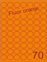 Etiket fluor oranje rond ø25mm (70) ds200vel A4