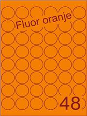 Etiket fluor oranje rond ø32mm (48) ds100vel A4