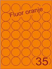 Etiket fluor oranje rond ø35m (35) ds200vel A4