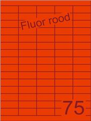 Etiket fluor rood 40x18mm (75) ds200vel A4