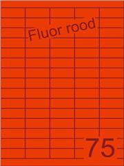 Etiket fluor rood 40x18mm (75) ds200vel A4