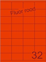 Etiket fluor rood 52,5x35mm (32) ds100vel A4