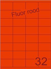Etiket fluor rood 52,5x35mm (32) ds100vel A4