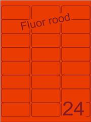 Etiket fluor rood 63,5x33,9mm (24) ds100vel A4