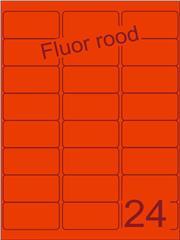 Etiket fluor rood 63,5x33,9mm (24) ds100vel A4